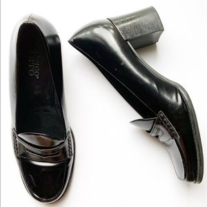 Franco Sarto Black Leather Block Heel Loafers, 9W